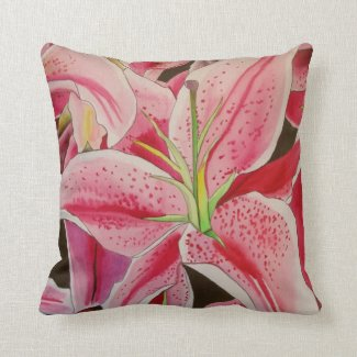Stargazer pink lily floral throw pillow