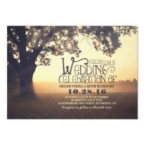 string lights tree rustic wedding invitation