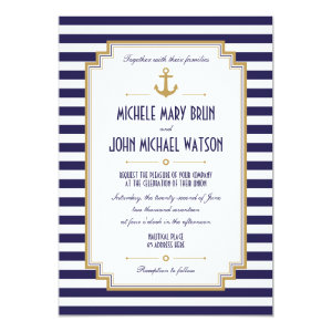Stylish Nautical Wedding Invitation