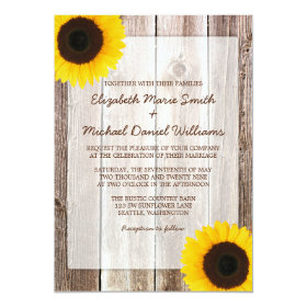 Sunflower Rustic Barn Wood Wedding 5x7 Paper Invitation Card