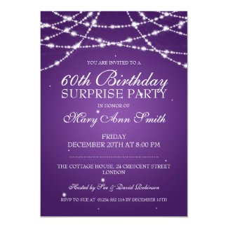 Surprise Birthday Party String of Stars Purple Custom Announcements