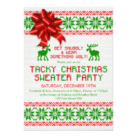 Tacky Ugly Christmas Sweater Party Invitation