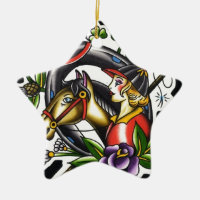 Tattoo Watercolor of an Irish girl and her horse Double-Sided Star Ceramic Christmas Ornament
