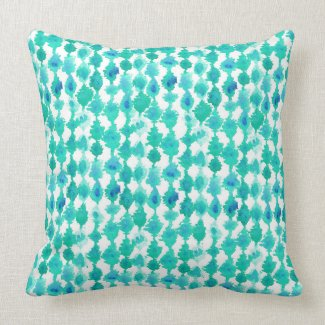 Teal Aqua Watercolor Tribal Print Turquoise Throw Pillows
