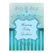 Teal Damask Sip See Baby Shower invitation