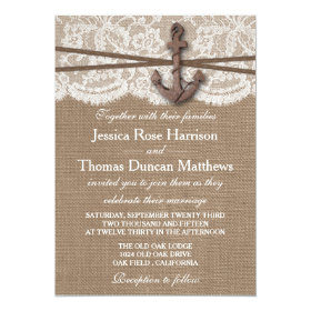 The Rustic Nautical Anchor Wedding Collection 5x7 Paper Invitation Card