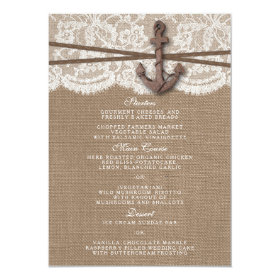 The Rustic Nautical Anchor Wedding Collection Menu 4.5x6.25 Paper Invitation Card