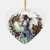 Titania and Bottom Double-Sided Heart Ceramic Christmas Ornament
