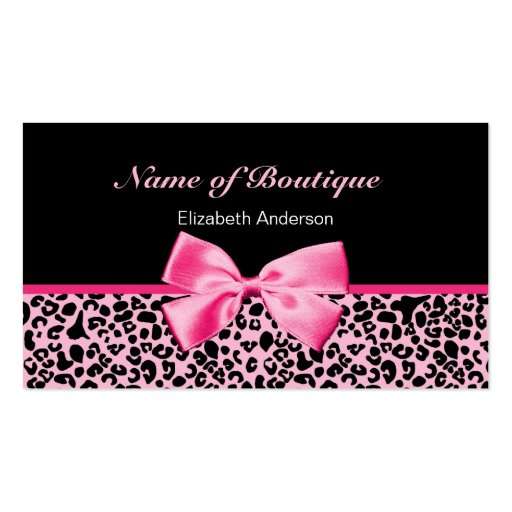 Trendy Boutique Pink And Black Leopard Pink Ribbon Business Card