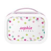 TRENDY cute polka dot confetti pattern pink green Yubo Lunchbox