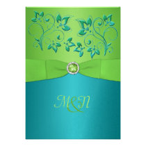 Turquoise and Lime Floral Wedding Invitation