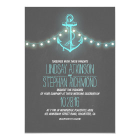 turquoise nautical chalkboard anchor wedding 5x7 paper invitation card