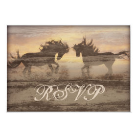 Two Horses Rustic Country Western Wedding RSVP Car 3.5x5 Paper Invitation Card