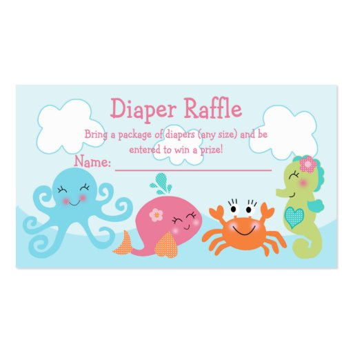 Under the Sea/Pink Whale Diaper Raffle Tickets Business Card