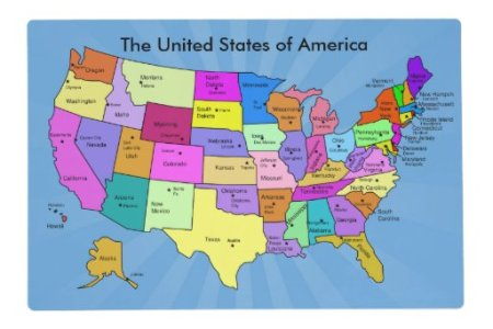 united states of america geography map educational