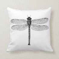 Vintage Black and White Dragonfly Illustration Pillows