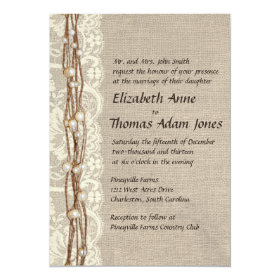 Vintage Burlap Lace Pearls Wedding Invitation