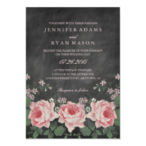 VINTAGE CHALKBOARD FLOWER WEDDING INVITATION