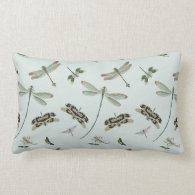 Vintage Dragonflies Throw Pillows