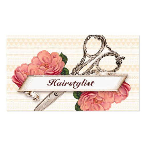 vintage floral hairstylist hair stylist pink girly business card