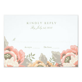 Vintage Floral Wedding RSVP 3.5x5 Paper Invitation Card