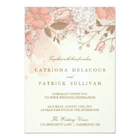 Vintage Flowers Spring Garden Wedding Invitation