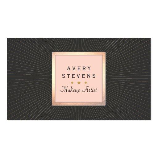 Vintage Makeup Artist Gold and Pink Sunburst Black Business Card