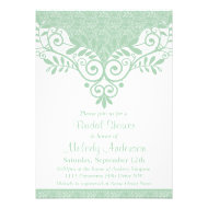 Vintage Mint Green Lace Floral Bridal Shower Custom Invitation