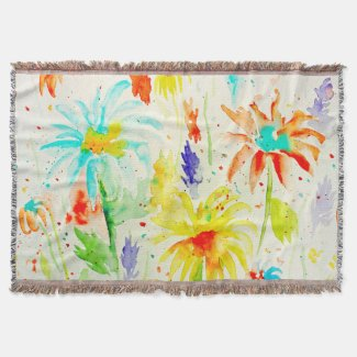 Watercolor Abstract Daisy Throw Rug