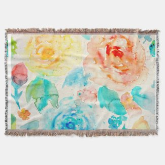 Watercolor Abstract Rose Throw Rug