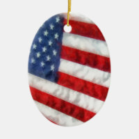 Watercolor American Flag Double-Sided Oval Ceramic Christmas Ornament