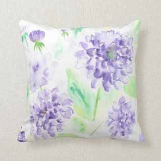 Watercolor blue dahlia Cushion Throw Pillows