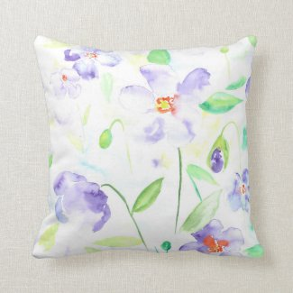 Watercolor blue daisy Cushion Throw Pillows