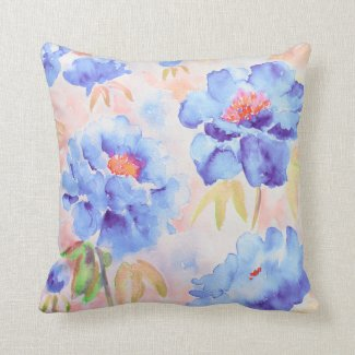 Watercolor blue Peony Cushion Pillow