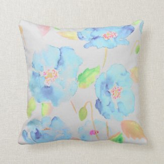 Watercolor blue poppy Cushion Throw Pillows