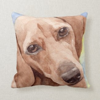 Watercolor dachshund Gifts Throw Pillows