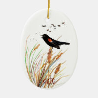 Watercolor Red-Winged Blackbird - Bird Collection Double-Sided Oval Ceramic Christmas Ornament