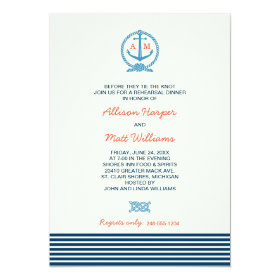 Wedding Rehearsal Dinner | Nautical Theme 5x7 Paper Invitation Card