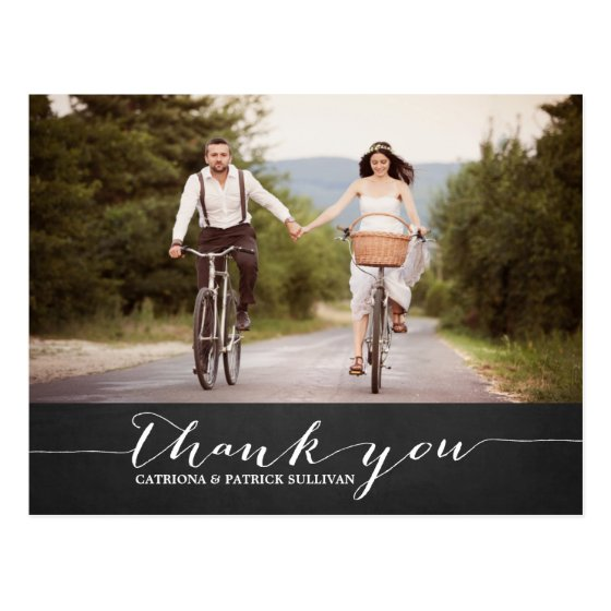 White Script Rustic Wedding Thank You Postcard