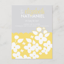 White Spring Garden SAVE THE DATE Postcard yellow