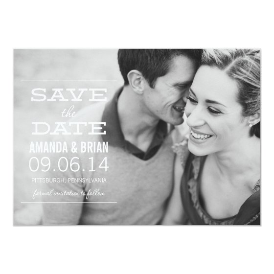 White Text Photo Save the Date Announcement