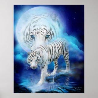 White Tiger Moon Art Poster/Print