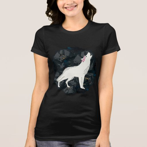 White Wolf with Black Roses T-shirt