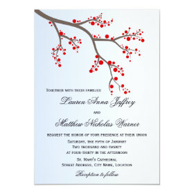 Winter Berry Branch Wedding Invitation