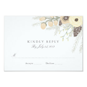Winter Foliage Wedding RSVP 3.5x5 Paper Invitation Card