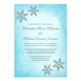 Winter Sparkle Snowflakes Teal Wedding Invitations