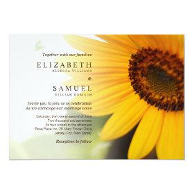 Yellow Sunflower Summer Wedding Invitation