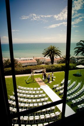 Ceremony setup through the window at Bel Air Bay Club