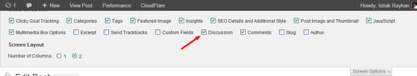 Screen Optios Sliding on WordPress