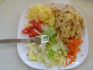 Chicken Rice and Salad.